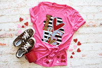 Love Shirt, Adult Valentine Shirt, Pink Valentine Tee, Women's Graphic Tee, Love Word Art, Screen Print Heart Shirt, Leopard Tee, Stripes