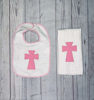 Personalized Baptism Bib and Burp Cloth with Cross