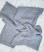 Gray Knit Bubble Baby Blanket