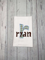 Name Baby Bib, Initial and Name Bib, Embroidered Baby Bib, Baby Boy, Bibs for Babies, Appliqué Bibs, Drool Bib, Plaid Appliqué Letter