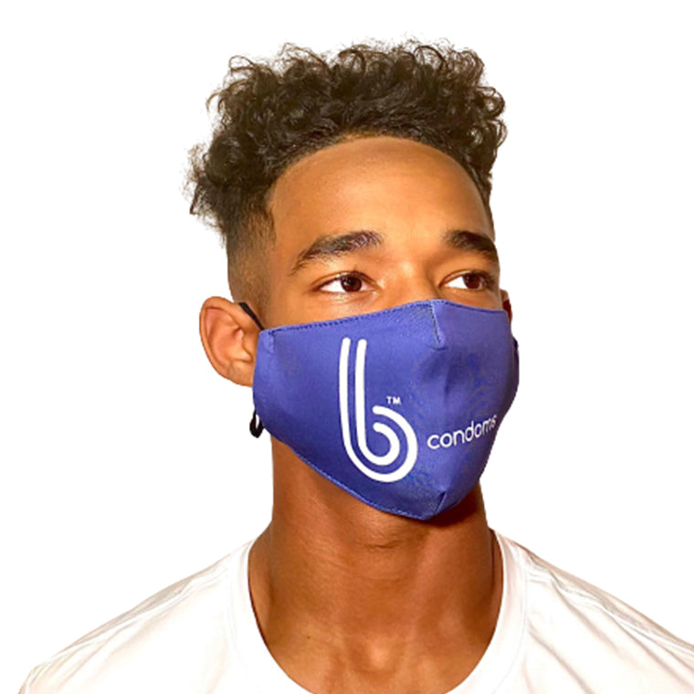 bProtected Unisex b condoms Facemask - Large Logo - 3 Pack