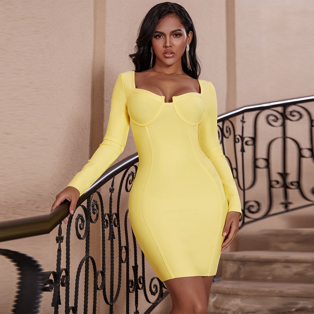 Update your weekend wardrobe with our Power Up Mini Dress. The dress features a bright yellow slinky material with an uplifting bodice and a figure-hugging fit. Team this dress with barely-there heels and a statement clutch for a look that will get you noticed.