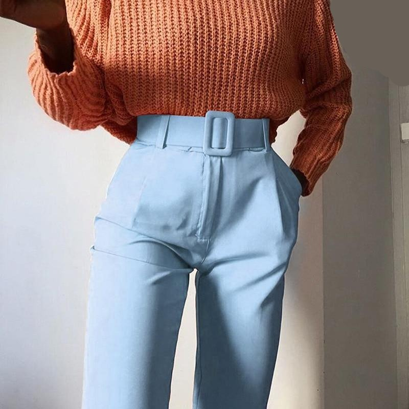 High Waist Slim Fit Sweat Pencil Pants Women Belt Streetwear Casual Capris