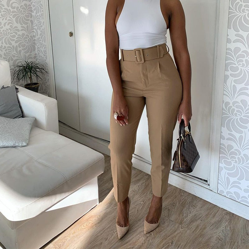 High Waist Pants Women With Belt Pockets Office Lady Ankle-length Trousers