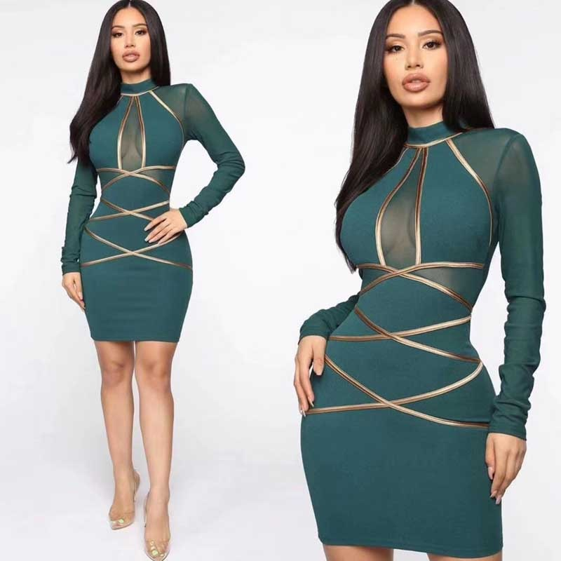 Dark green Mesh long sleeve, body-con, sexy cocktail dress