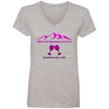Load image into Gallery viewer, When The Mountains Are Pink Women's' V-Neck T-Shirt - SaddleBrookeUSA