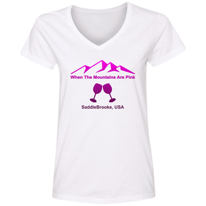 When The Mountains Are Pink Women's' V-Neck T-Shirt - SaddleBrookeUSA