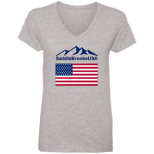 Load image into Gallery viewer, SaddleBrooke USA Flag Women's V-Neck T- Shirt - SaddleBrookeUSA