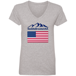 SaddleBrooke USA Flag Women's V-Neck T- Shirt - SaddleBrookeUSA