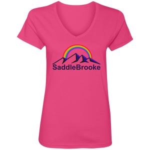 """Rainbow"" Women's Cotton V-Neck T-Shirt - SaddleBrookeUSA"