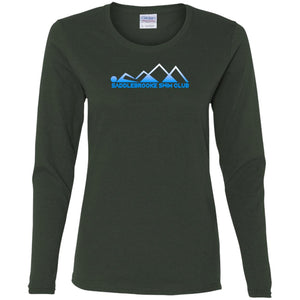 """Swim Mountains"" Women's Long Sleeve Cotton  T-Shirt - SaddleBrookeUSA"