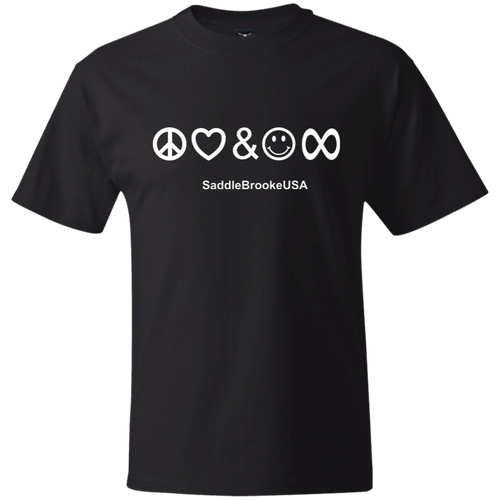 Peace, Love & Happiness Forever SaddleBrookeUSA Heavy Weight Men's T-Shirt - SaddleBrookeUSA