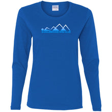 "Load image into Gallery viewer, ""Swim Mountains"" Women's Long Sleeve Cotton  T-Shirt - SaddleBrookeUSA"