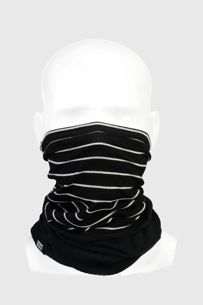 Fifty-Fifty Mesh Neckwarmer - Black / Thin Stripe