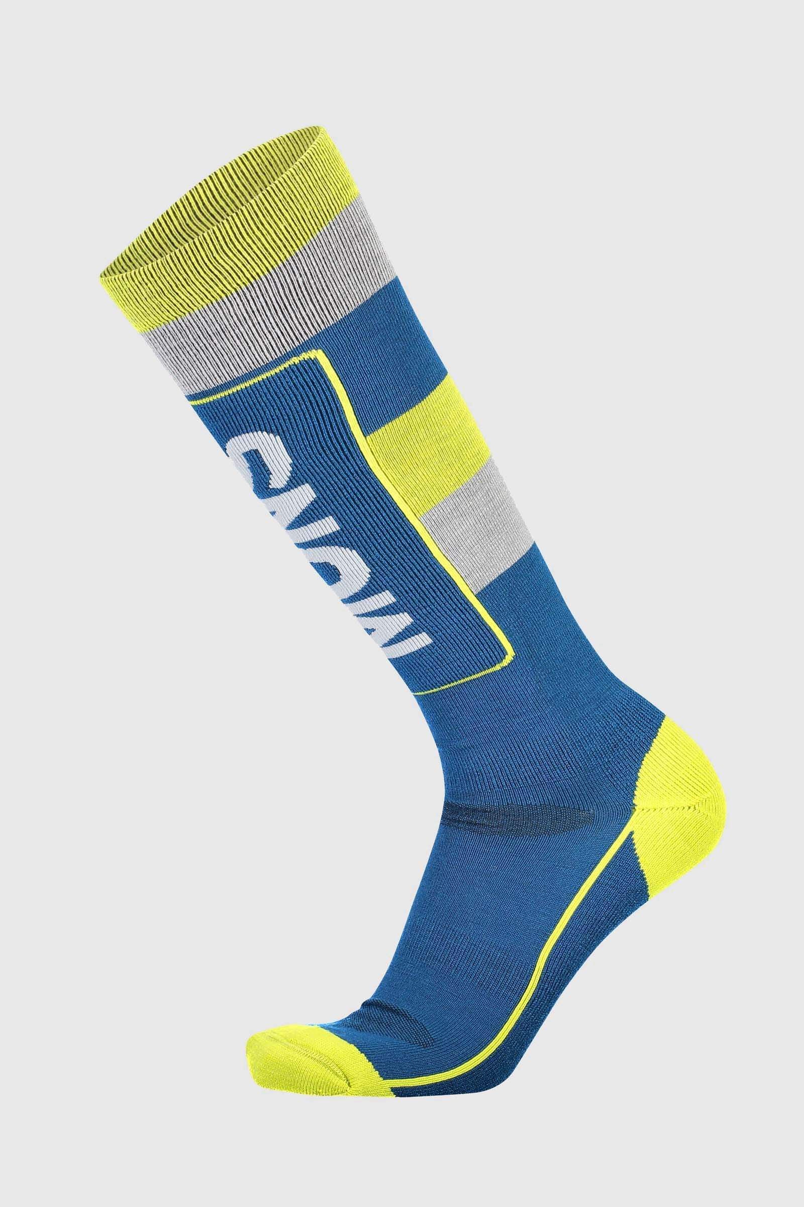 Mons Tech Cushion Sock - Oily Blue / Grey / Citrus