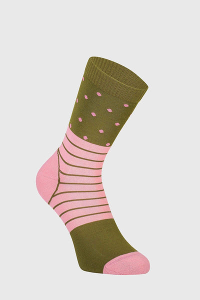 All Rounder Crew Sock - Khaki Rose