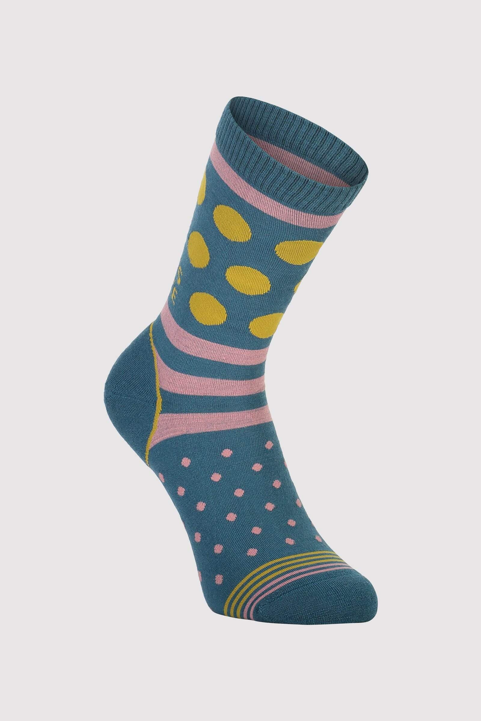 All Rounder Crew Sock Womens - Deep Teal / Pink Clay / Honey