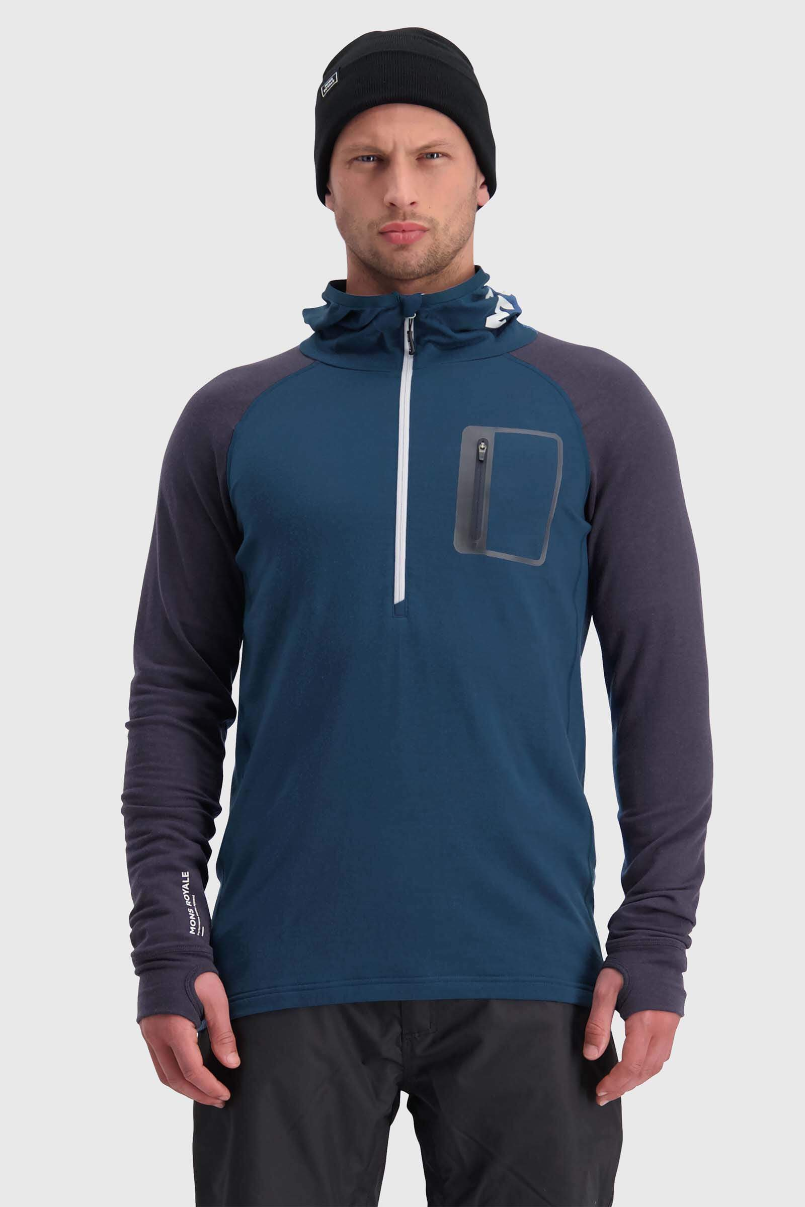 Traverse Midi Half Zip Hood - Atlantic / 9 Iron