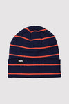 McCloud Striped Beanie - Navy / Orange Smash