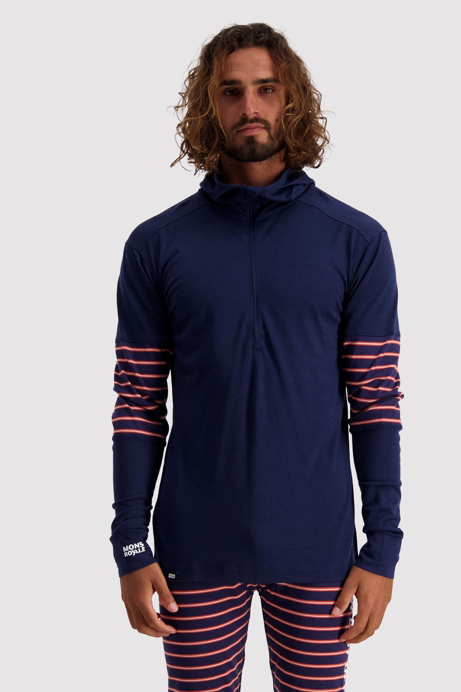 Alta Tech Zip Hood - Navy / Alpine Stripe