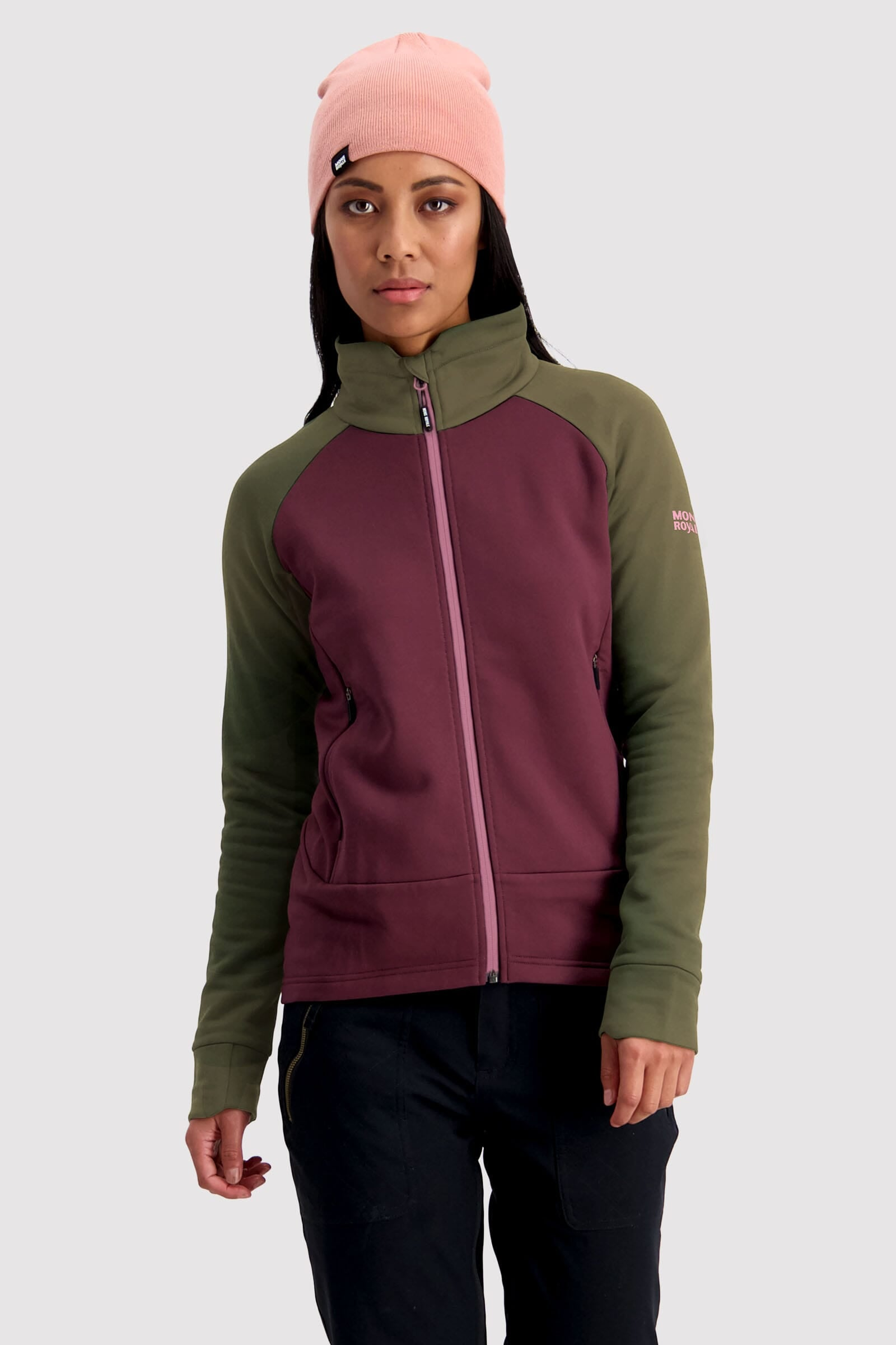 Nevis Wool Fleece Jacket - Blackberry / Canteen