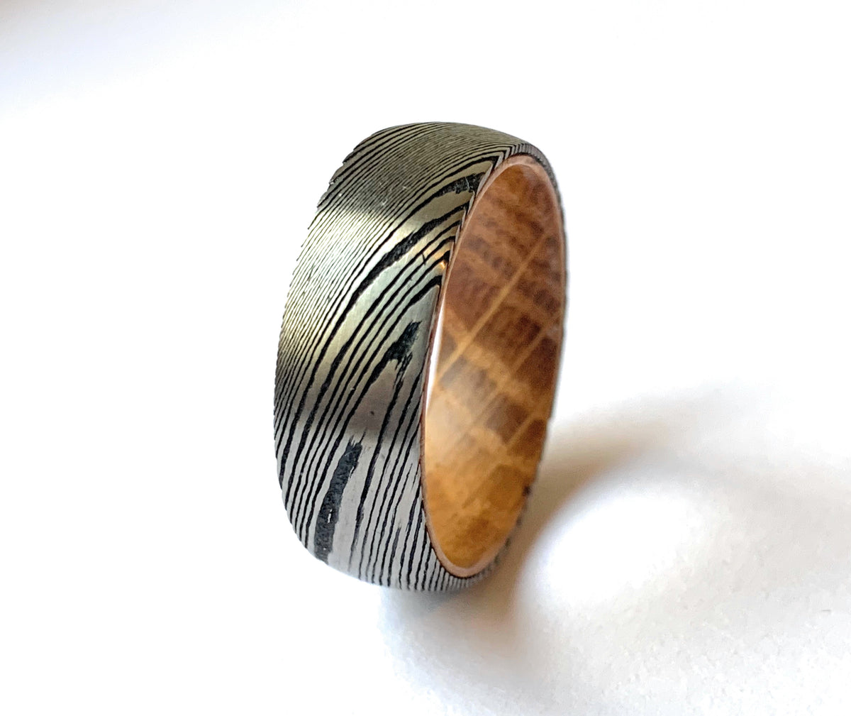 Damascus Steel Ring with Oak Wood inner Liner