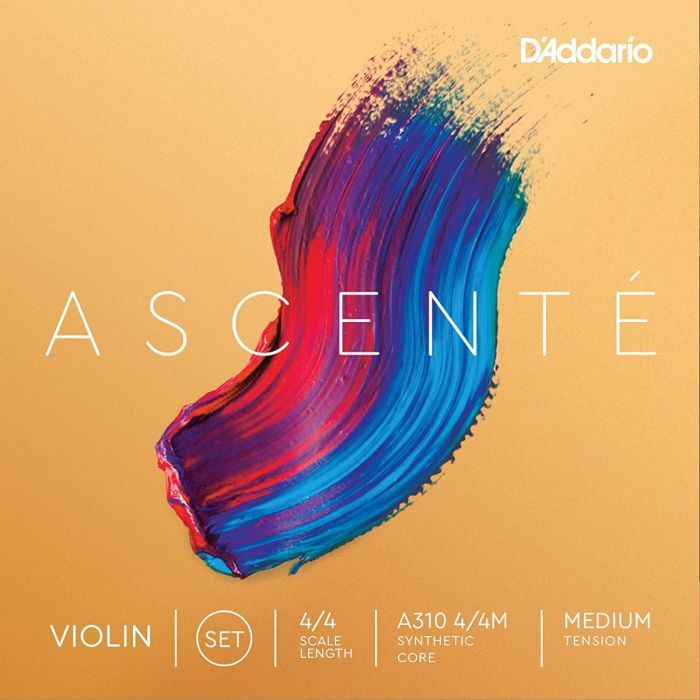 D'Addario A310 4/4M Ascenté Violin String Set, 4/4 Scale, Medium Tension