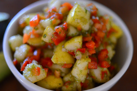 Autumn pear and red bell pepper salsa with Oomph superfood seasoning Three Star blend