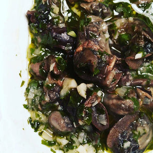 Duxelles blend with escargot, buttery sauce, garlic, parsley, snails, umami, side dish
