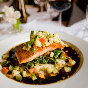 Load image into Gallery viewer, fish dinner recipe, salmon recipe, salmon with sauce, oomph, oomph cooking blends, vegetables, vegan, vegetarian
