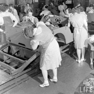 Women building military Jeeps at the Willys Overland Factory in Toledo, Ohio (c.1942)