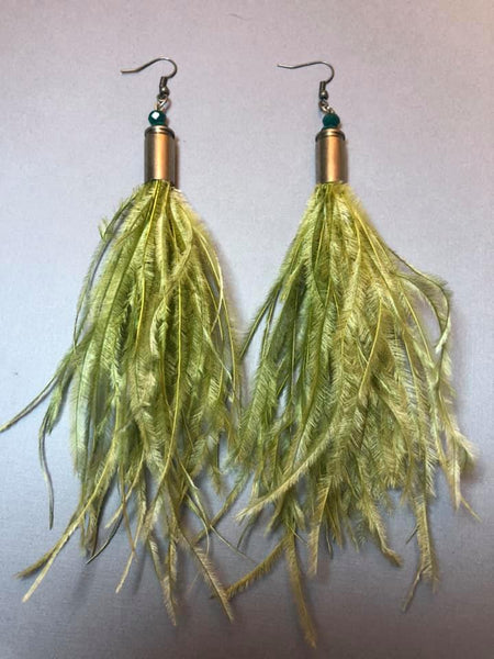 OLIVE GREEN OSTRICH BULLET EARRINGS