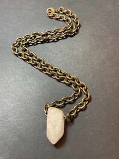 CRYSTAL ON BRONZE CHAIN