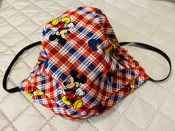 MICKEY MOUSE PLAID COTTON FACE MASK WITH FILTER POCKET