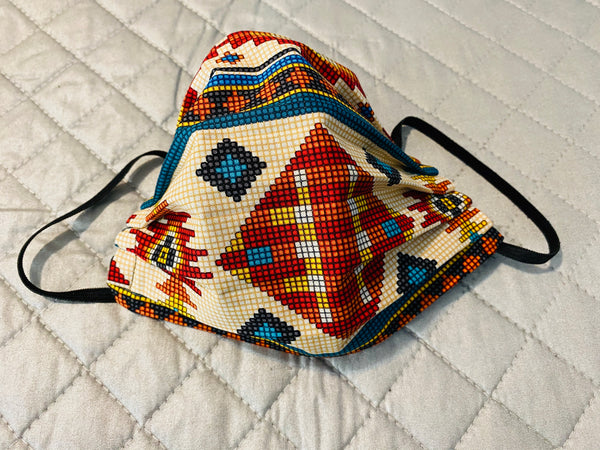 TRIBAL CROSS STITCH face mask with filter pocket