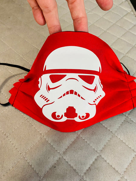 Storm trooper cotton face mask with filter pocket