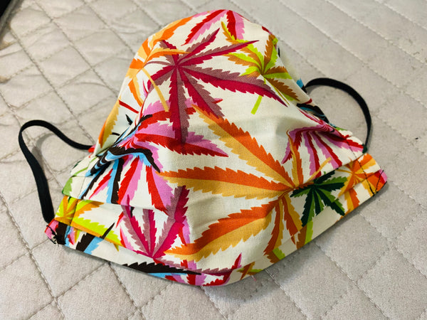 COLORED LEAVES WEED FACE MASK