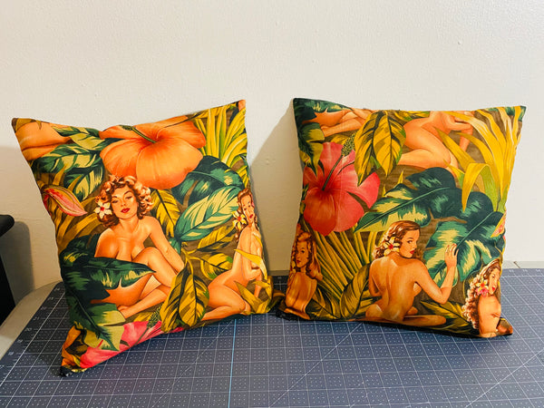 TROPICAL PIN UP GIRLS PILLOWS