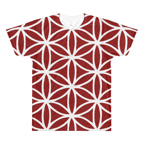 Burgundy Flower of life all over T - BFLY