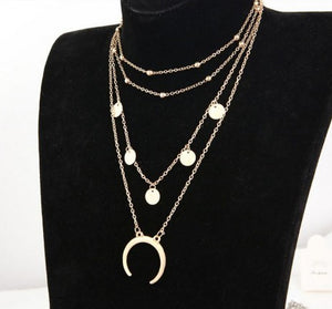 Trendy Moon Triple Layered Fashion Necklace For Women/Girls