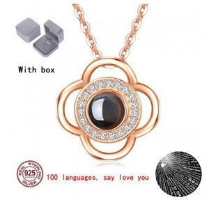 Amazing AD Floral 100 Language I Love You Projection Rose Gold Pendant For Women/Girls