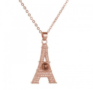 Splendid AD Eiffel Tower 100 Language I Love You Projection Gold Plated Pendant For Women/Girls