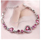 Magnificent Crystal Heart Design Silver Plated Brilliant Charm Bracelet For Women/Girls