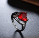 Most Stylish Crystal Heart Black Silver Fabulous Ring For Women/Girls