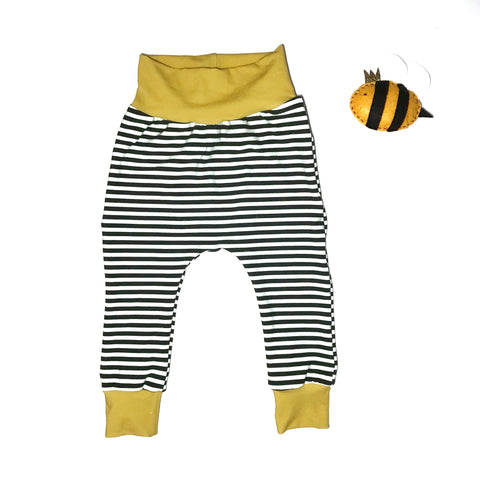 Black & White Stripy Trousers with yellow trim - 9-12 Months