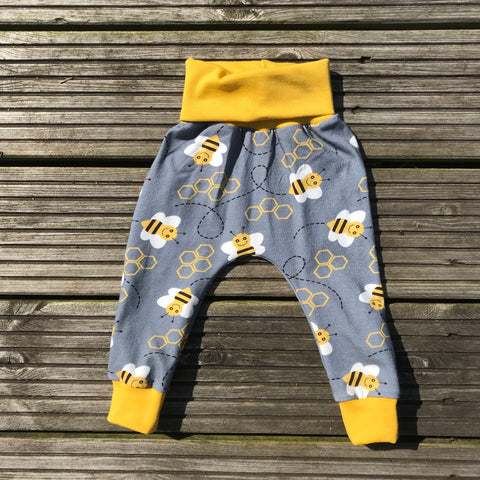 Grey Bee snuggle trousers  - 6-9 months