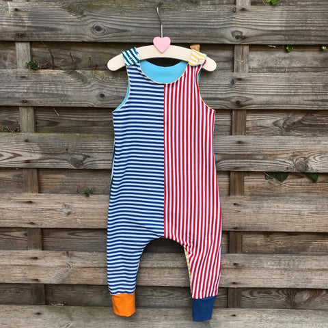 Funky stripy dungarees - 12-18 months