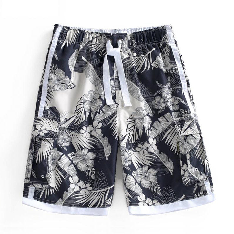 N90-T507 (Black with cream floral, cargo pockets), Men Microfiber Swimtrunk