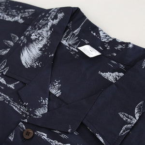 C90-A719 (Vintage navy tree), Men 100% Cotton Aloha Shirts.
