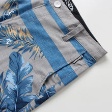 Load image into Gallery viewer, N90-S8629 (Monstera divide-saphire/grey), Men Submersible Shorts (4-way-stretch)